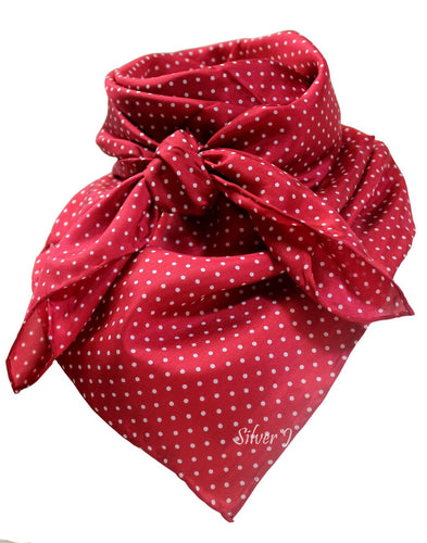 Red Polka Dot Silk Wild Rag