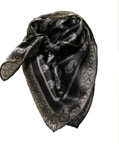 Wild Rag Satin Silk Black Swirl