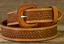 "Western Leather Belt Basket Weave Russet  1 1/2"" Wide"