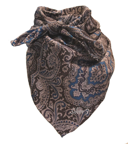 Wild Rag Paisley Silk Blue and Silver