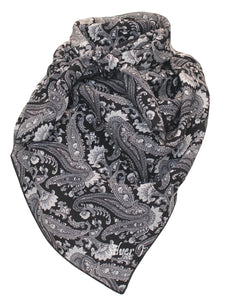 Wild Rag Paisley Silk Black and White