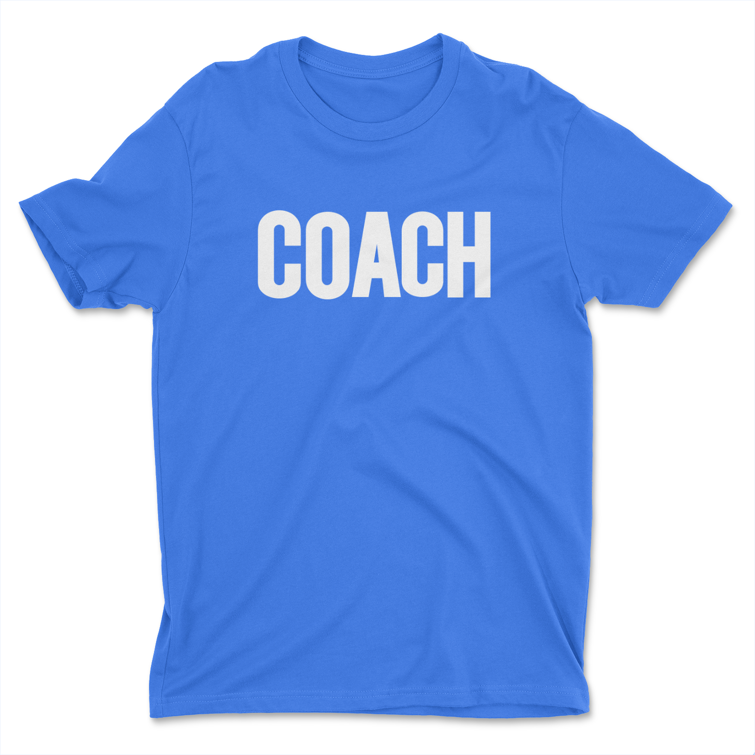 royal blue mens coach t-shirt sports team coaching shirt