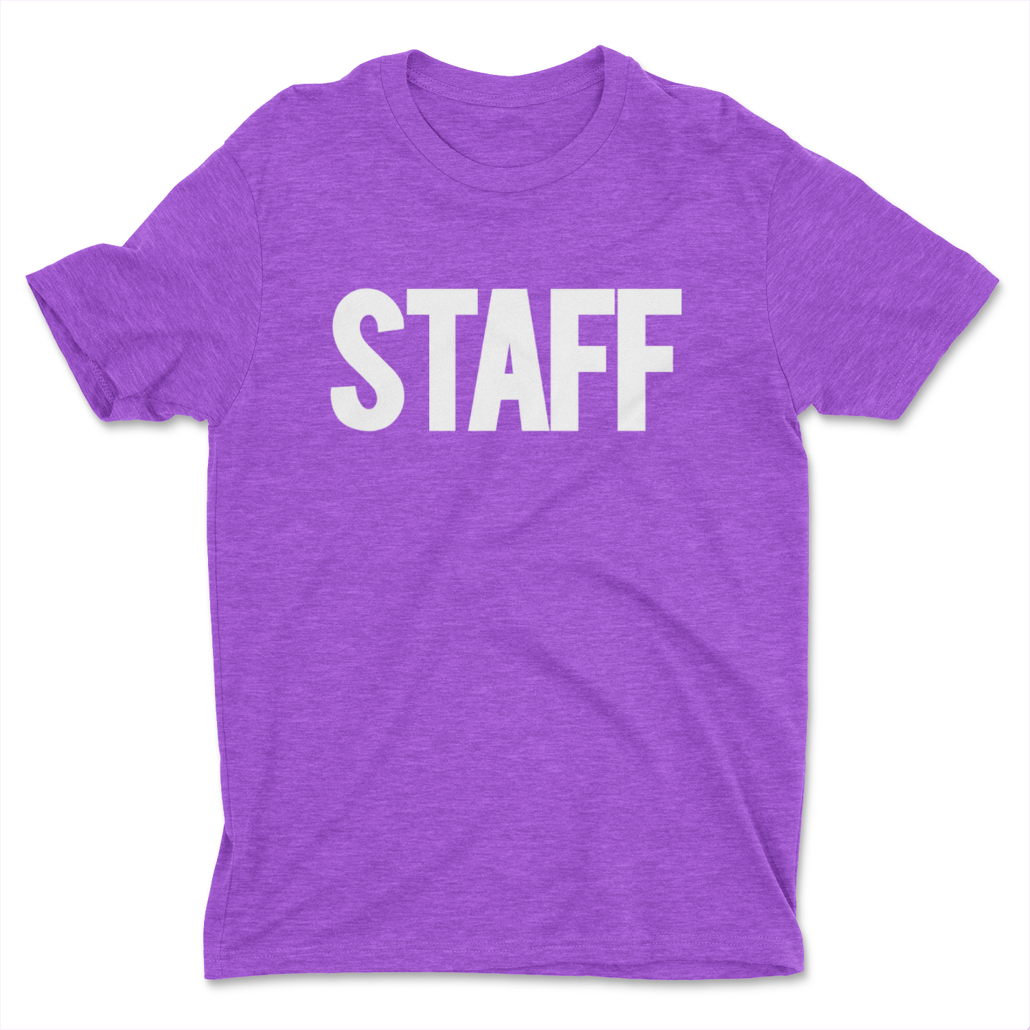 heather purple staff t-shirt