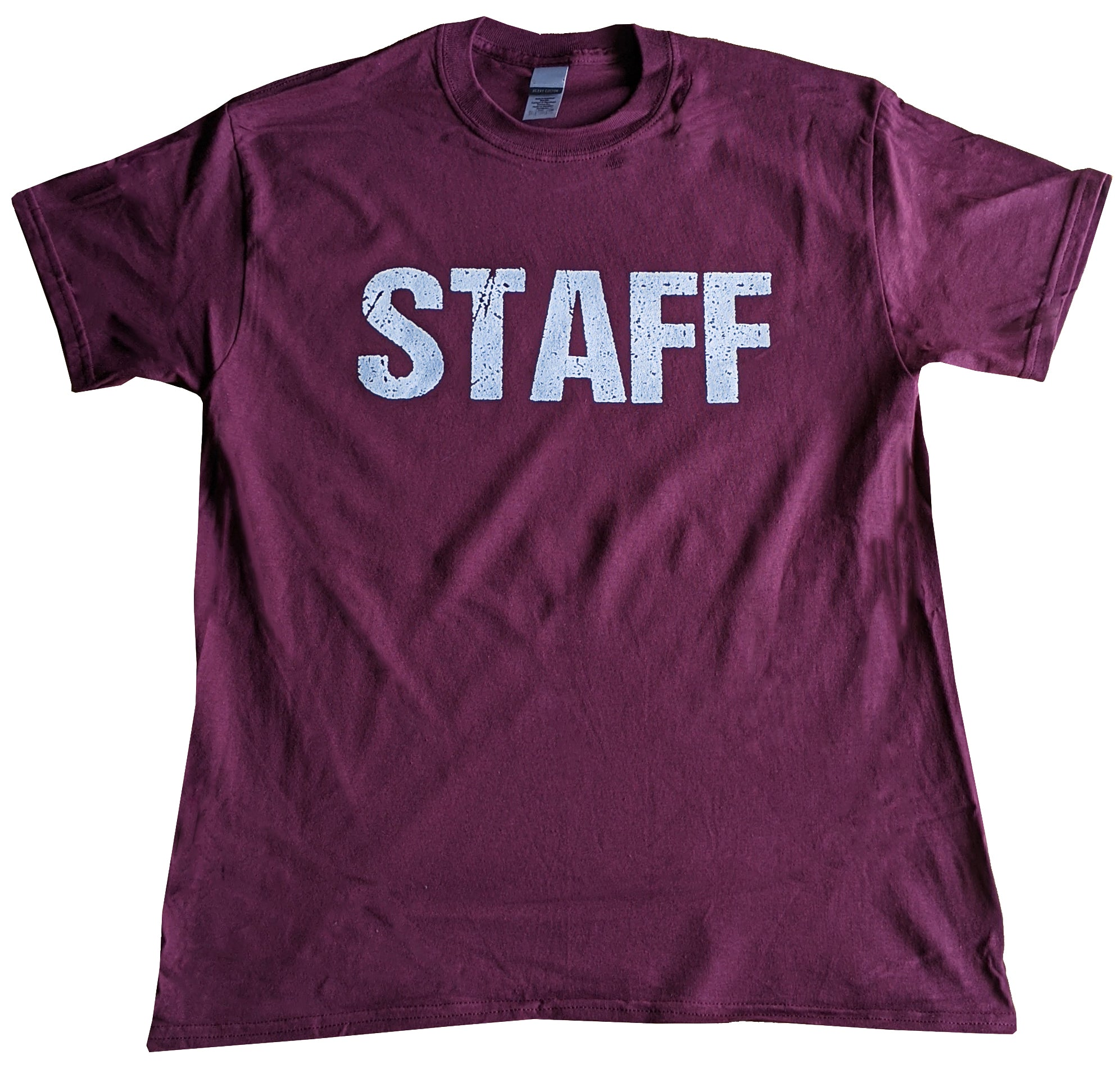 Men's Staff Tee Maroon Screen Printed Front and Back