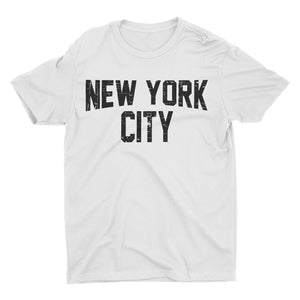 New York City T-Shirt Distressed Screenprinted White Lennon Tee - NYC FACTORY