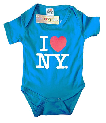 I Love NY New York Baby Infant Screen Printed Heart Bodysuit Turquoise - NYC FACTORY