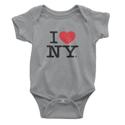 I Love NY New York Baby Infant Screen Printed Heart Bodysuit Gray