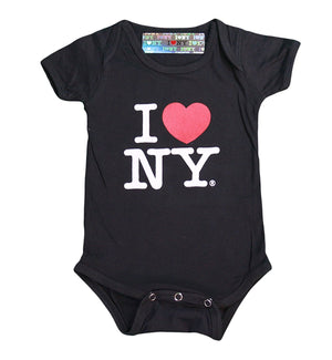 I Love NY New York Baby Infant Screen Printed Heart Bodysuit Black - NYC FACTORY