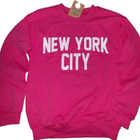 New York City Sweatshirt Screenprinted Hot Pink Adult NYC Lennon Shirt - NYC FACTORY