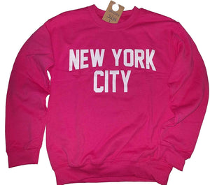 New York City Sweatshirt Screenprinted Hot Pink Adult NYC Lennon Shirt-Sweatshirt-NYC FACTORY-XX-Large-NYC FACTORY