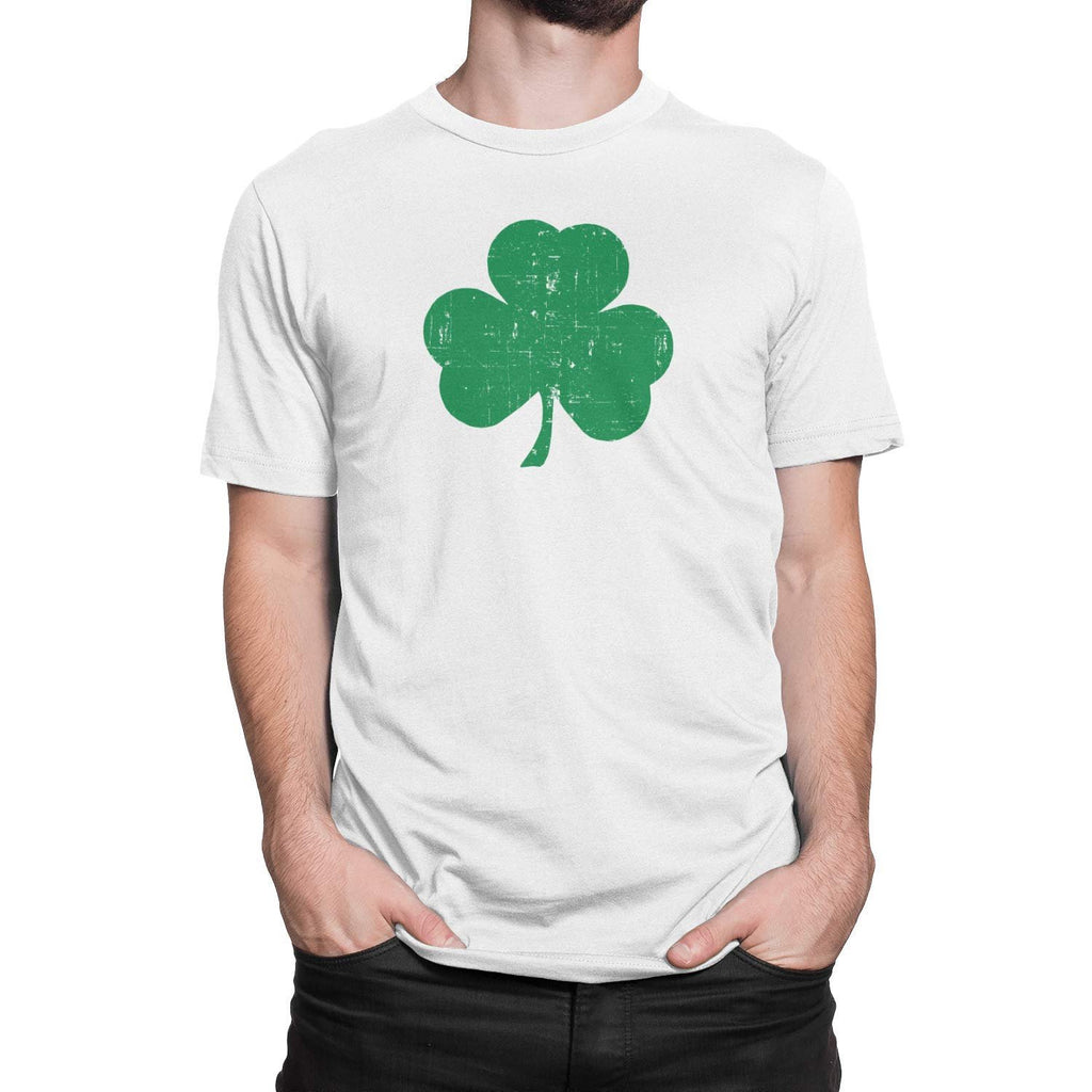 USA Screen Printed White & Black Irish Distressed Shamrock T-Shirt St Patricks Day Mens Ireland
