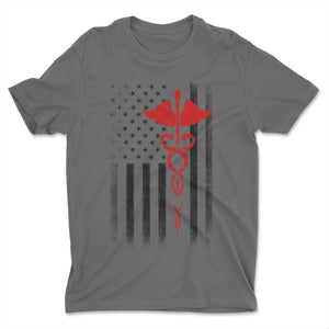 Charcoal Men's USA Flag Red Premium Ringspun Tee EMT Nurses Lives Matter