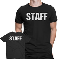 Men's Staff tee Design Screen Printed Front & Back (Distressed, Black & White)
