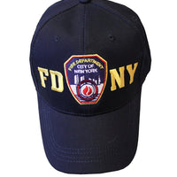 FDNY Baseball Hat Police Badge Fire Department of New York City Navy & Gold O.