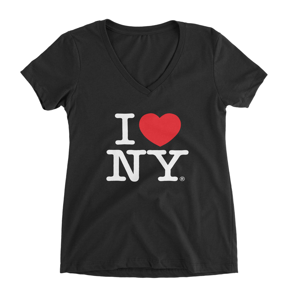 I Love NY New York Womens V-Neck T-Shirt Spandex Ladies Heart Black