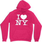 Hot Pink I Love NY New York Hoodie Screen Print Heart Sweatshirt