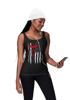 Slim Fit Ladies Tank Top USA Flag EMT Nurses Lives Matter Ring-Spun Cotton
