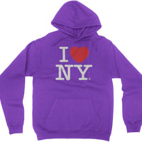 Purple I Love NY New York Hoodie Screen Print Heart Sweatshirt