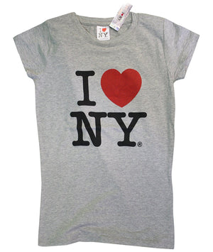 I Love NY New York Womens T-Shirt Spandex Tee Heart Gray