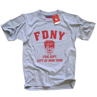 FDNY Kids Short Sleeve Screen Print T-Shirt Gray Red Print