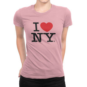 I Love NY New York Womens T-Shirt Ladies Tee Heart Light Pink