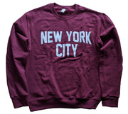 Adult Unisex New York City Crewneck Sweatshirt Maroon