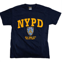 NYPD Kids Short Sleeve Screen Print T-Shirt Navy Yellow