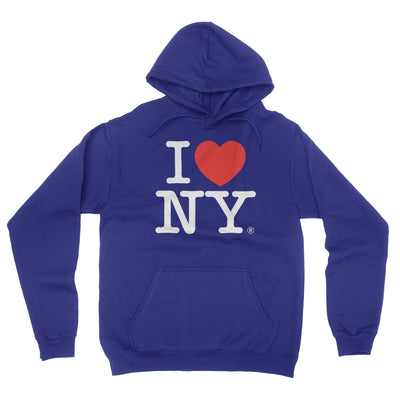 I Love NY New York Hoodie Screen Print Heart Sweatshirt Navy