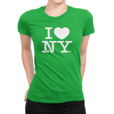 I Love NY New York Womens T-Shirt Spandex Tee Heart Green