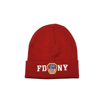 FDNY Winter Hat Police Badge Fire Department Of New York City Red & White One...