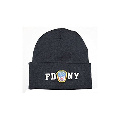 FDNY Winter Hat Police Badge Fire Department Of New York City Navy & White On...