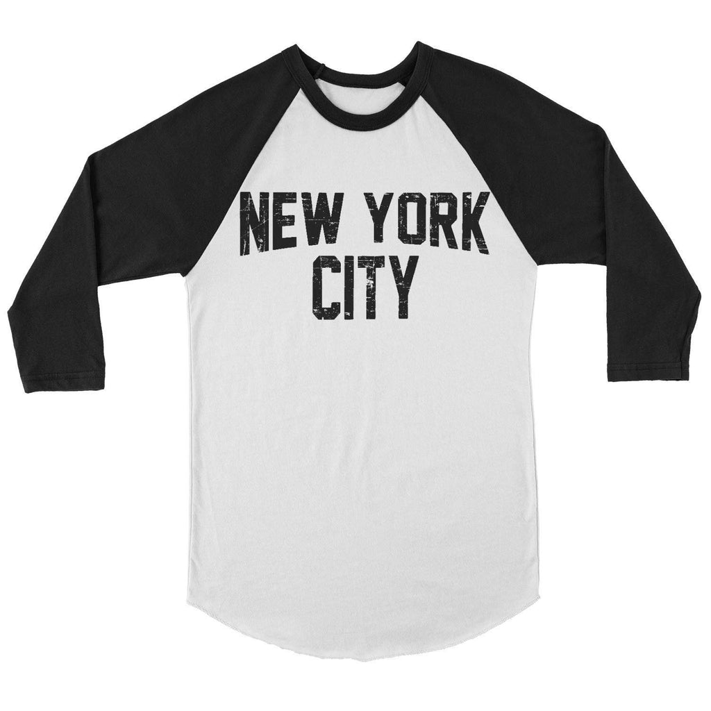 Raglan Tee John Lennon T-Shirt New York City Ring-spun White & Black