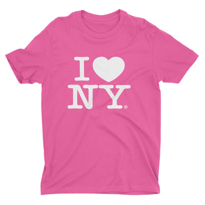 I Love NY New York Kids Short Sleeve Screen Print Heart T-Shirt Hot Pink