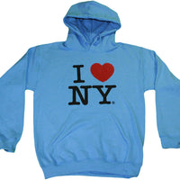 Light Blue I Love NY New York Hoodie Screen Print Heart Sweatshirt