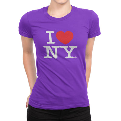 I Love NY New York Womens T-Shirt Ladies Tee Heart Purple