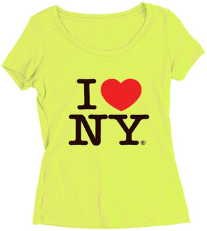 I Love NY Neon Teens/Ladies Scoop Neck T-Shirt Tee Officially Licensed Slim Fit