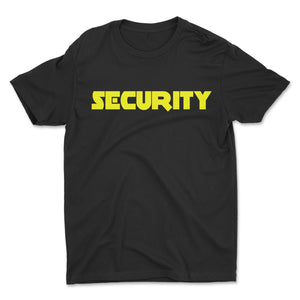 Security T-Shirt Front & Back Men's Event Staff Tee Black Neon Yellow