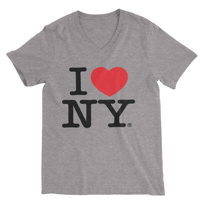 I Love NY New York Womens V-Neck T-Shirt Spandex Heart Gray