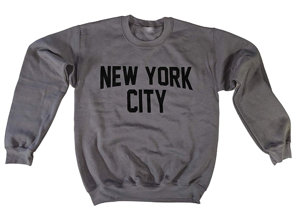 Men's New York City Sweatshirt Screen-Printed (Charcoal / Black, Adult Unisex)