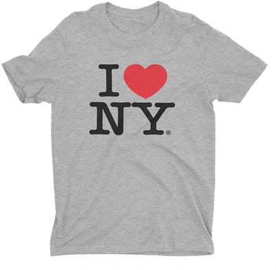 I Love NY New York Short Sleeve Screen Print Heart T-Shirt Gray