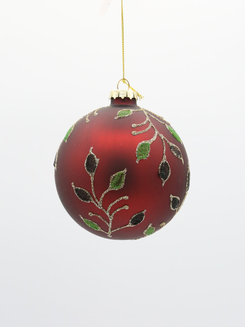 Glass Red Green Vine Ball Ornament