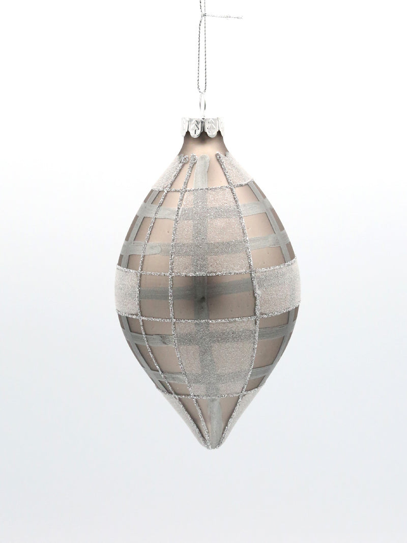 Grey Pewter Plaid Finial Glass Ornament 4""