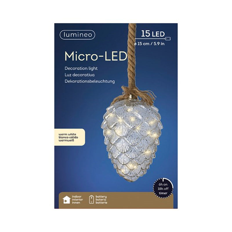 LED Mercury Glass Pinecone & Rope 8""
