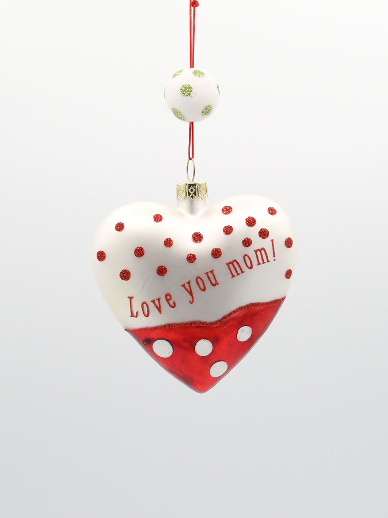 Love You Mom Heart Ornament