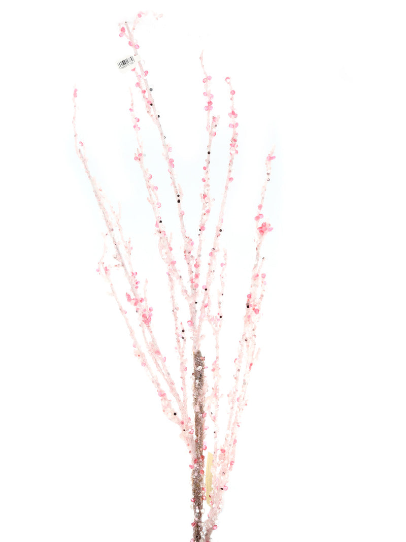 Pink Iced Crystal Branch Pick 39""