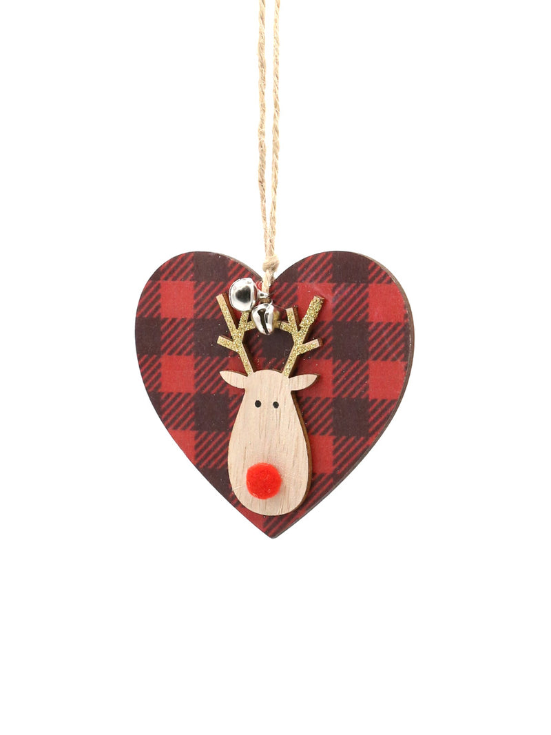 Red Black Plaid Moose Head Ornament