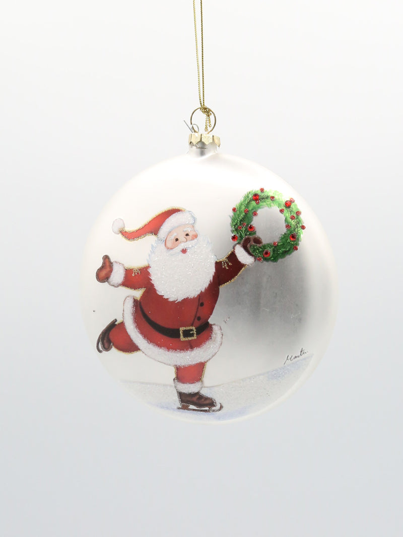 Santa On Skates Disk Ornament
