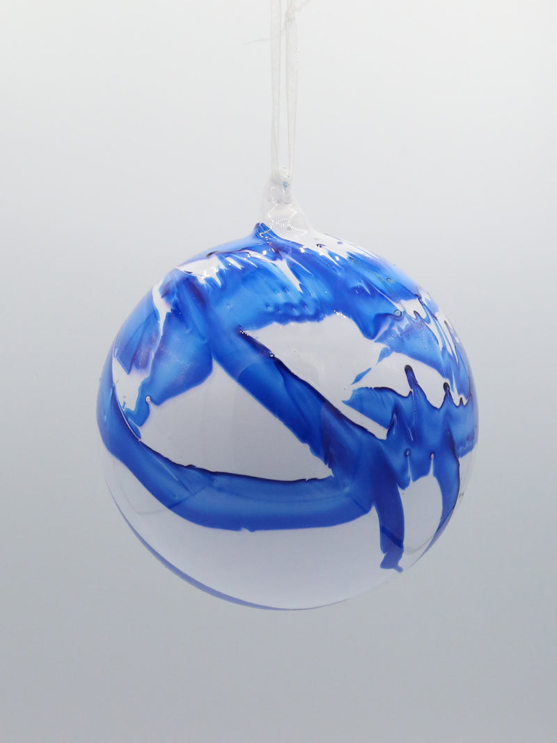 White Blue Glass Ball Ornament 6""