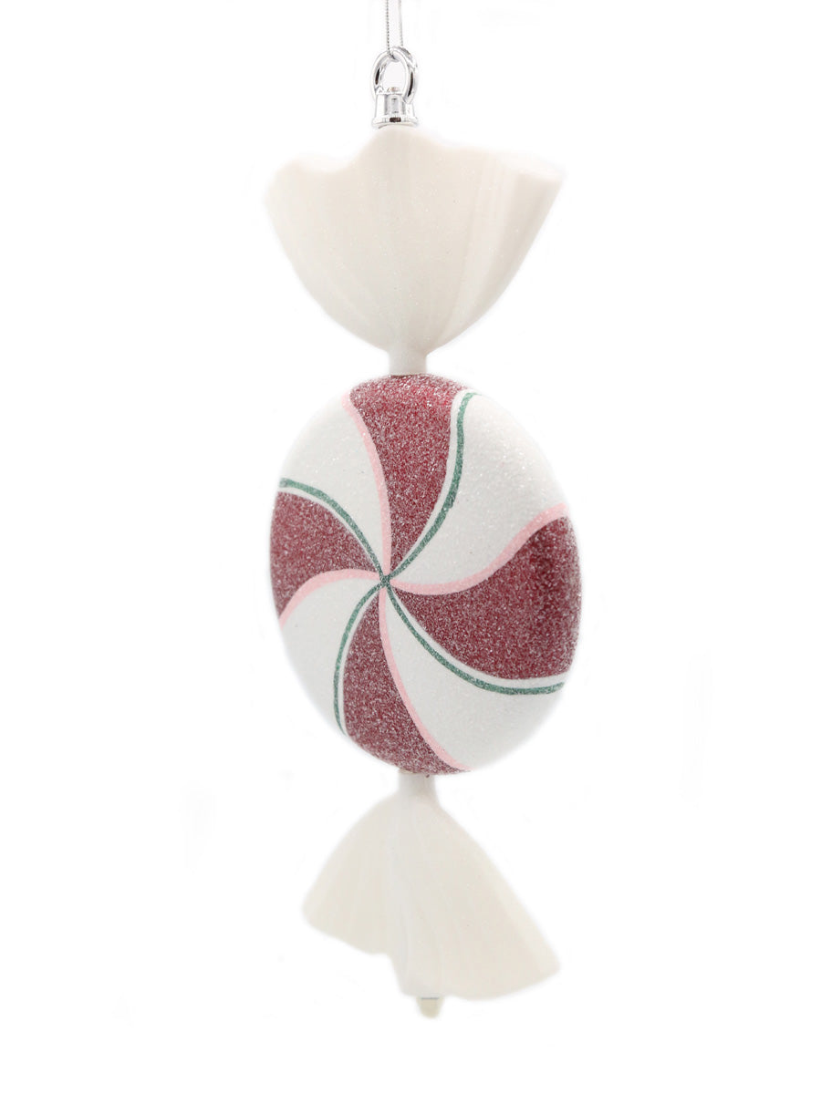Frosted Peppermint Twist Ornament 13""