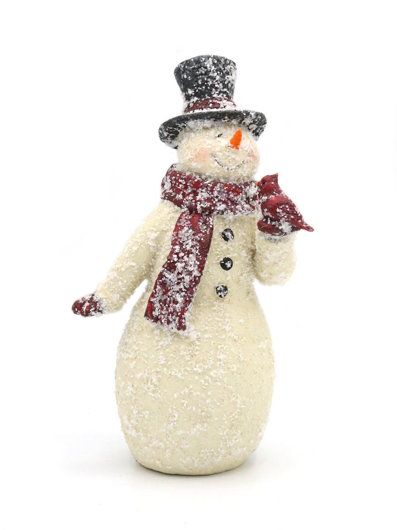 Glittered Vintage Snowman With Cardinal 9""